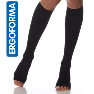 Гольфы компрессионные мужские Ergoforma 2 класса компрессии с открытым носком, черные 322